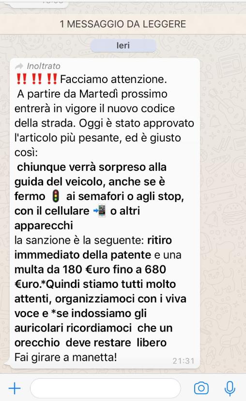 Photo of Whatsapp e la bufala sul nuovo Codice della Strada