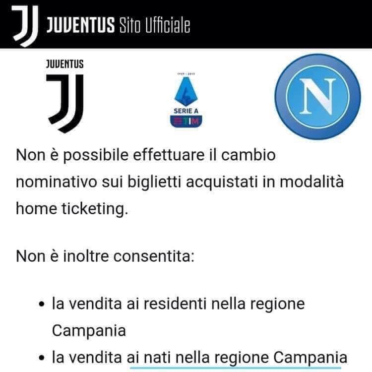 Photo of Juventus – Napoli vietata ai residenti e ai nati in Campania: è polemica